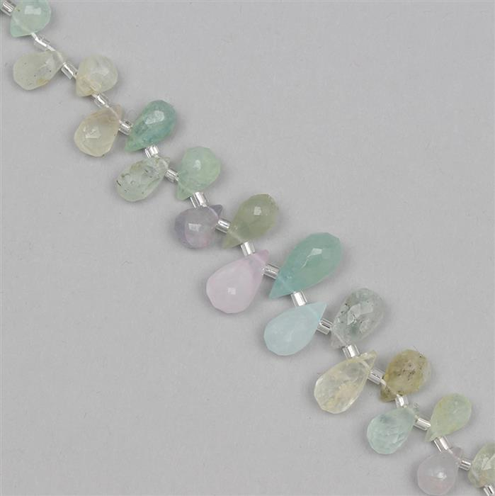 75cts Multi Colour Beryl Graduated Faceted Drops Approx 7x4 to 13x6mm, 14cm Strand.