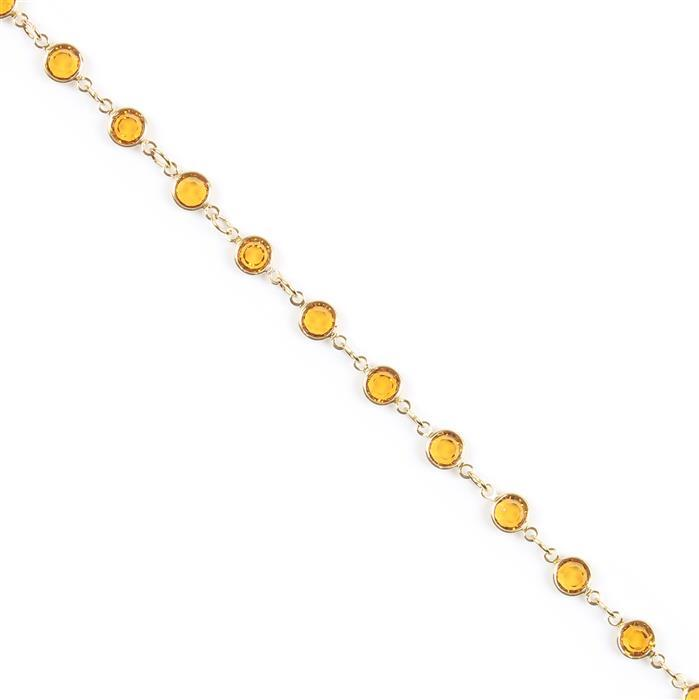 Swarovski Channel Chain, 90005, Gold Plating with Topaz, 50cm