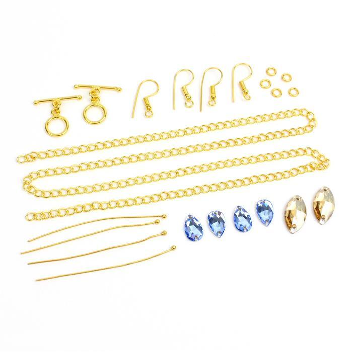 Little Extras; Swarovski Sew On Drops 4pk and Navettes 2pk with Gold plated Findings