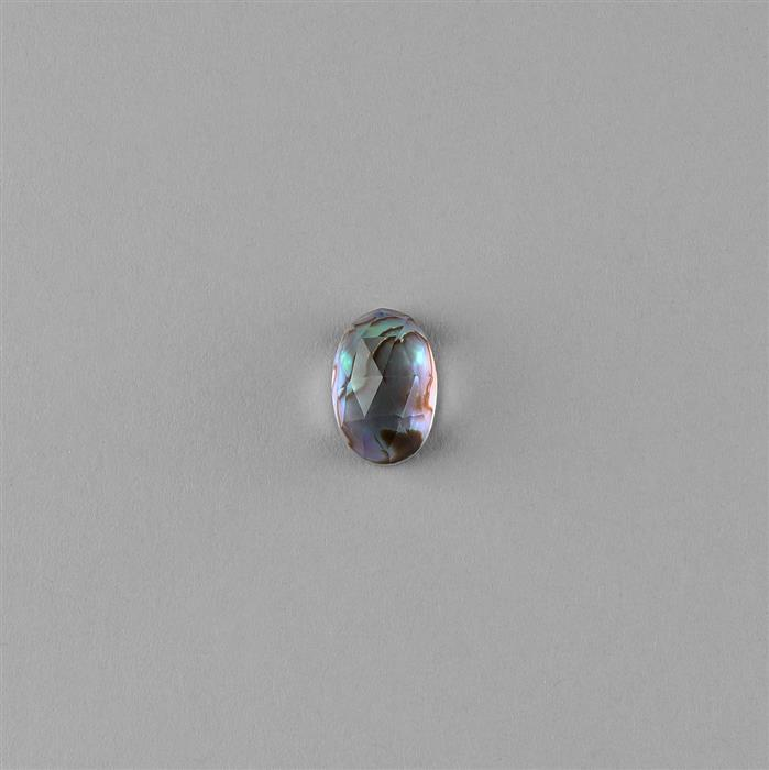 8cts Abalone Doublet Faceted Oval with Crystal Quartz Approx 15x10mm.
