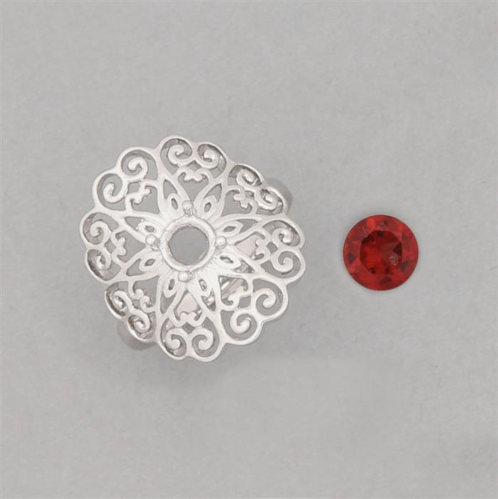 Size 7 925 Sterling Silver Medieval Ring Mounts Fits 5mm Round Inc. 0.50cts Red Garnet 5mm Round