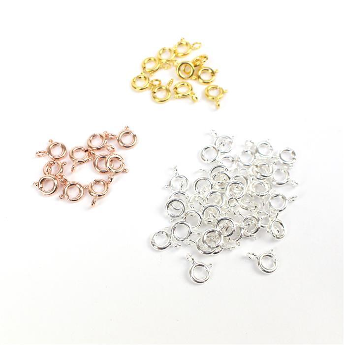 925 Sterling Silver Bolt Ring Clasp Bundle 6mm - Silver, Gold & Rose Gold (60pc)
