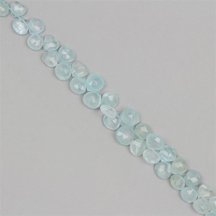 105cts Aquamarine Graduated Faceted Drops Approx 7 to 10mm, 22cm Strand.