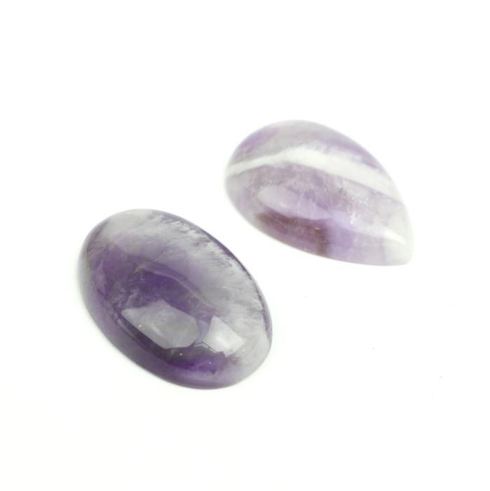 Amethyst Cabochon's! Inc; 20cts Dogtooth Amethyst Pear & 20cts Amethyst Oval Cabochon