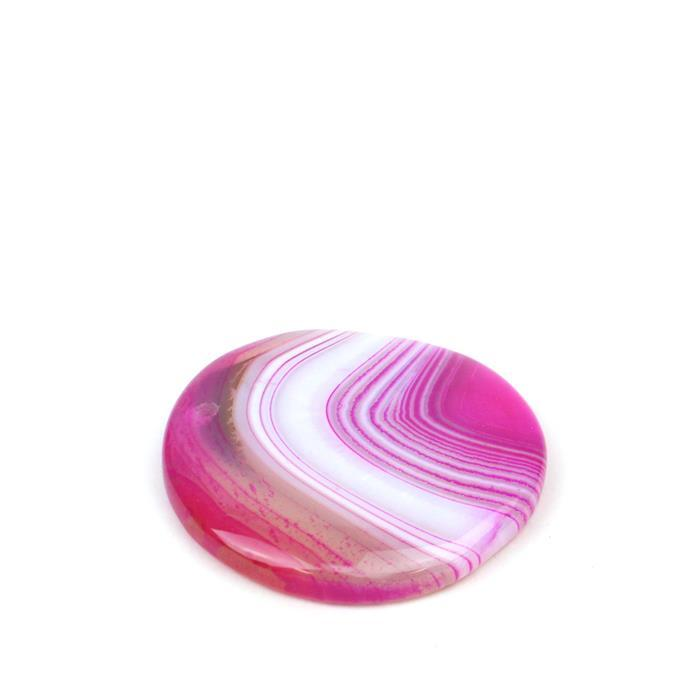 80cts Fuchsia Stripe Agate Coin Pendant Approx 40mm,1pk