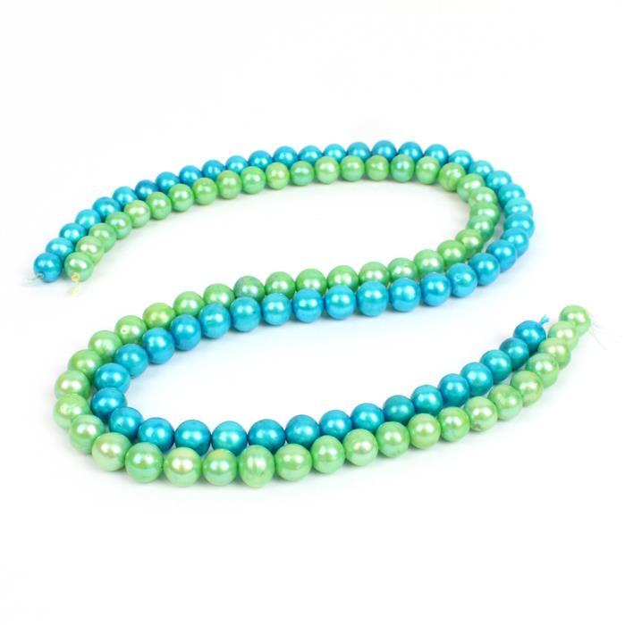 Mint Green & Sky Blue Cultured Near Round Pearls.