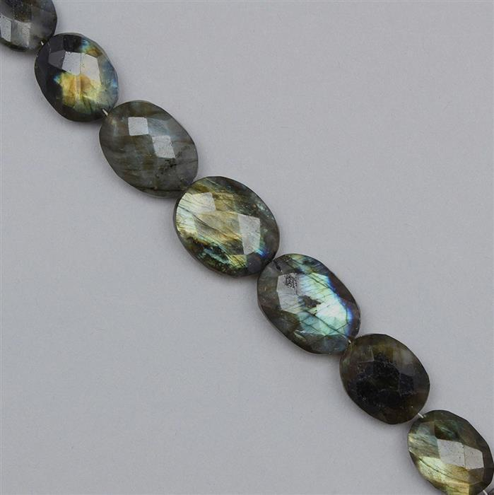 140cts Labradorite Graduated Faceted Ovals Approx 13x11 to 20x14mm, 18cm Strand.