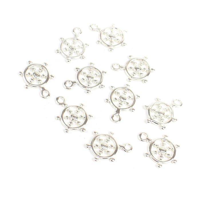 Silver Plated Brass Ship Wheel Charms Approx 16x11mm, 10pc/pk
