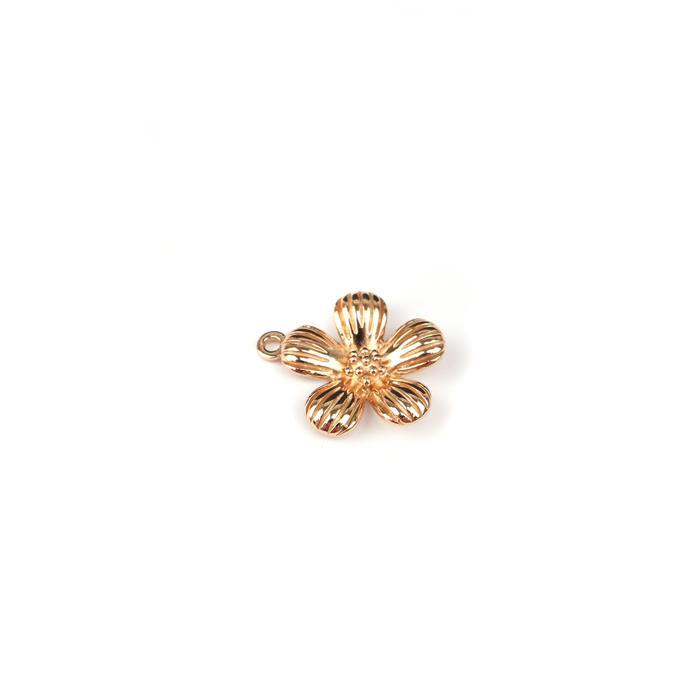 Rose Gold Plated 925 Sterling Silver Single Spring Flower Pendant Approx 21x18mm