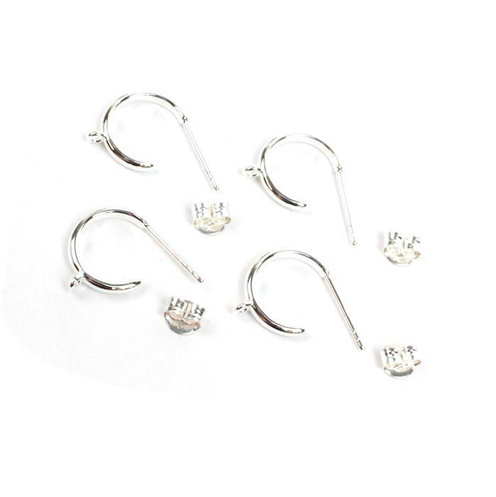 925 Sterling Silver Hoop Earrings With Loop Approx 12mm (2Pairs)