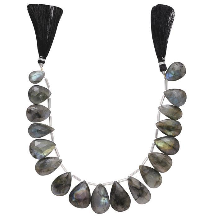 240cts Labradorite Graduated Faceted Elongated Pears Approx 14x10 to 27x14mm, 21cm Strand.