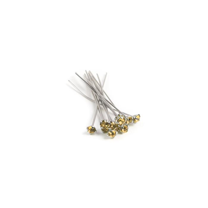 Swarovski Headpin 17704 Light Colorado Topaz with Rhodium Plating, PP24, 0.05x3.81cm, 12pk
