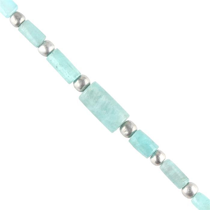 5cts Paraiba Tourmaline Graduated Plain Barrels Approx 4x2 to 11x4mm, 4cm Strand.