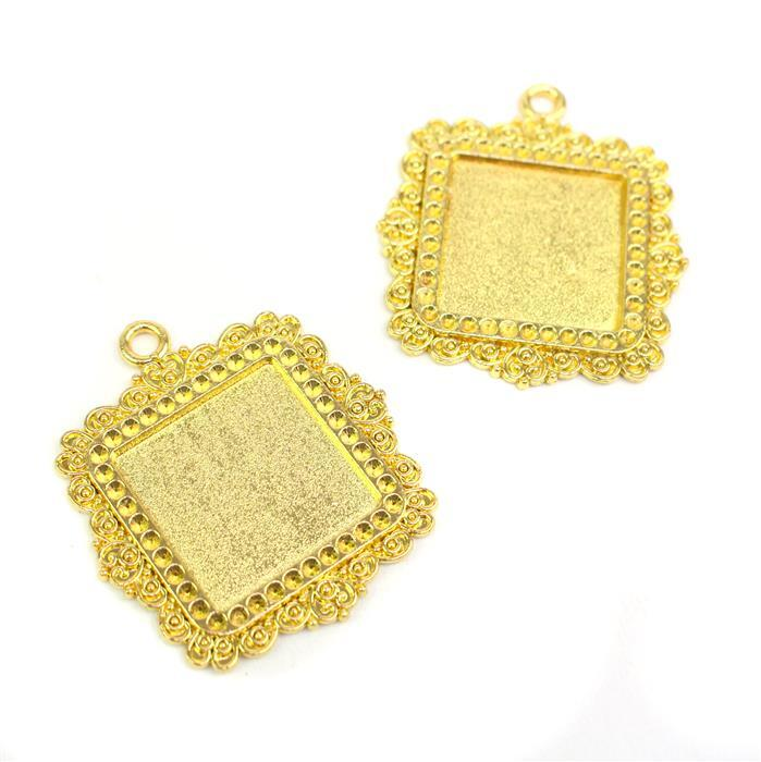 Gold Colour Fancy Square Bezel Pendant Approx 35x40mm (Set of 2)