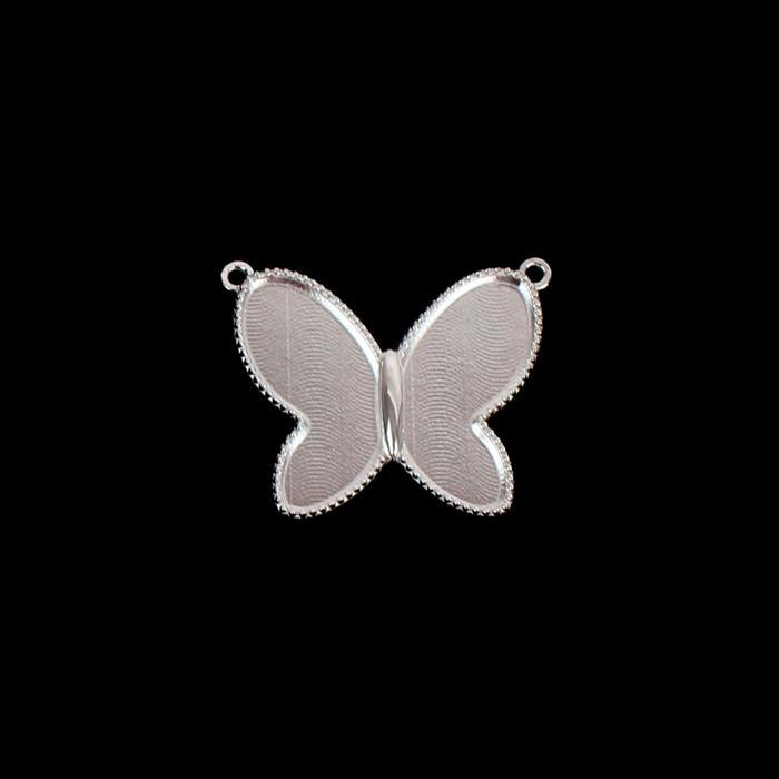925 Sterling Silver Butterfly Pendant Bezels Approx 25mm, 1pcs
