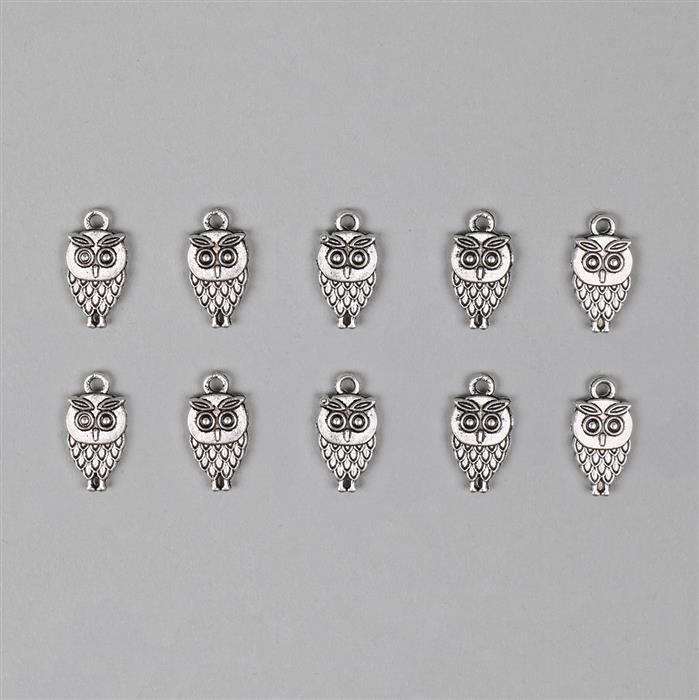 Silver Plated Alloy Owl Charms - 18x9mm (10pcs/pk)