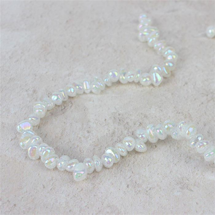 180cts Rainbow Coated Crackled White Quartz Nuggets Approx 7x6mm-12x6mm,Approx 38cm strand