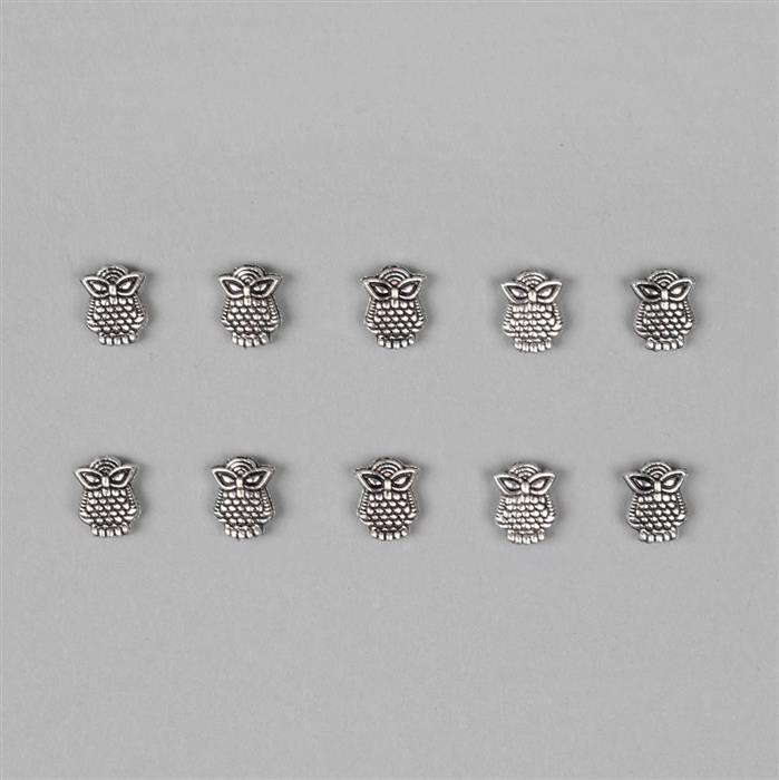 Silver Plated Alloy Owl Charms - 10x8mm (10pcs/pk)