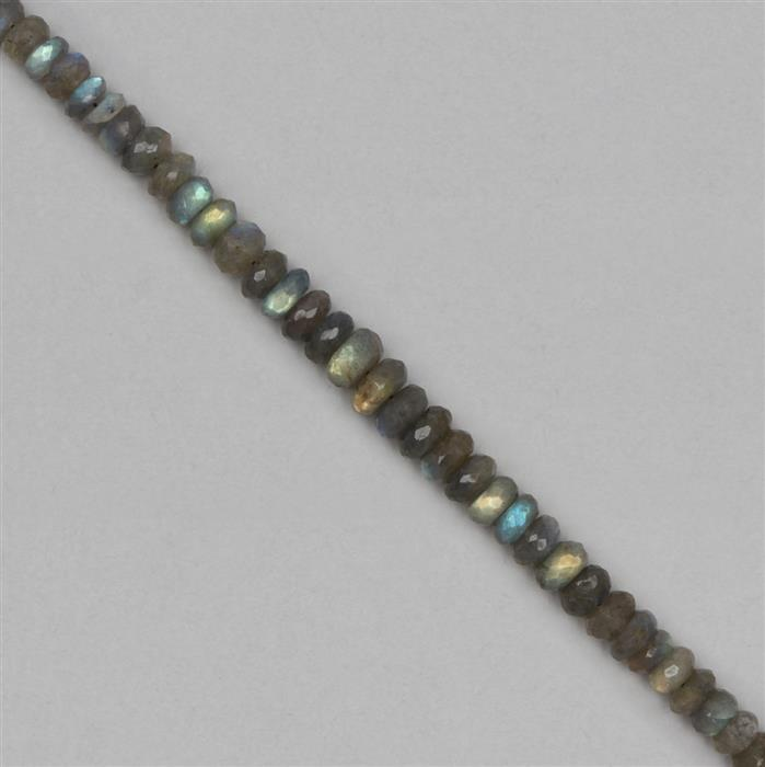 145cts Labradorite Graduated Faceted Rondelles Approx 7x3 to 11x4mm, 18cm Strand.