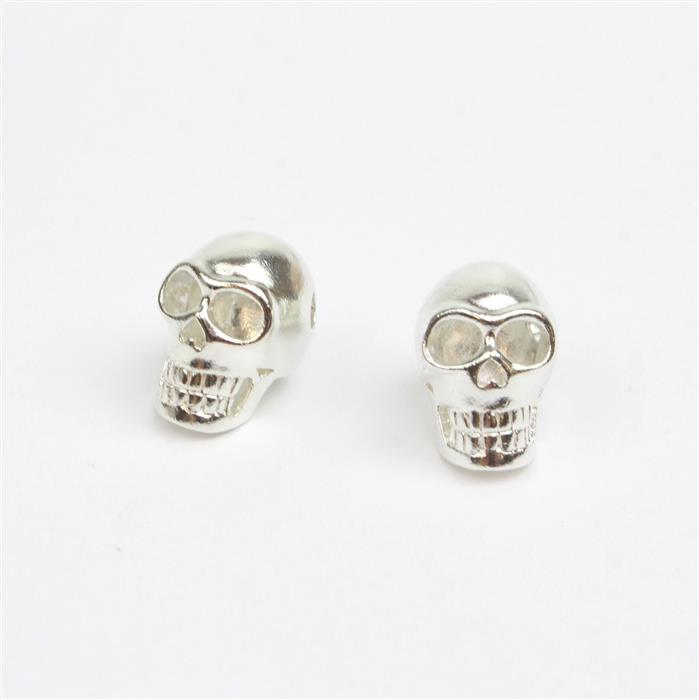 Double Trouble 2x 925 Sterling Silver Large Skull Charm - 15 x 10mm (2pc)