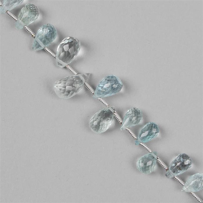 30cts Aquamarine Graduated Faceted Drops Approx 4x3 to 10x4mm, 19cm Strand.