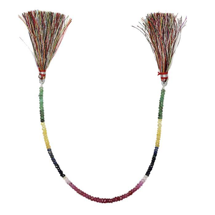 20cts Ruby, Emerald & Sapphire Faceted Rondelles Approx 2x1 to 4x2 mm, 18cm Strand.