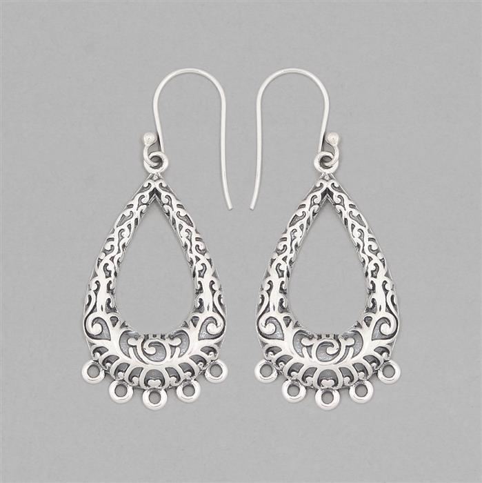 925 Sterling Silver Oxidized Vintage Earrings Chandelier With Five Loops Approx 45x18mm (1pair)
