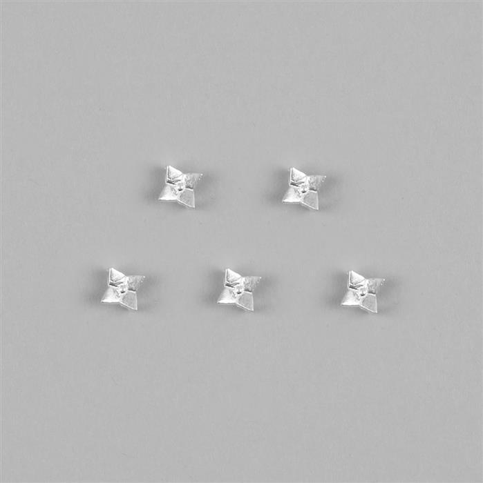 925 Sterling Silver Two Hole Flower Spacers, 5pcs