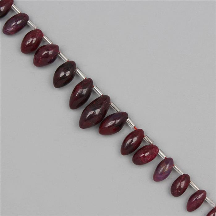 115cts Ruby Graduated Plain Rice Beads Approx 7x3 to 15x7mm, 18cm Strand.