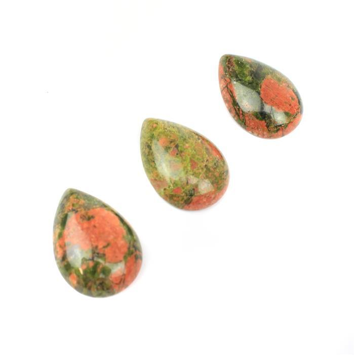30cts Unakite Teardrop Cabochons Approx 18x25mm (3pcs/pack)