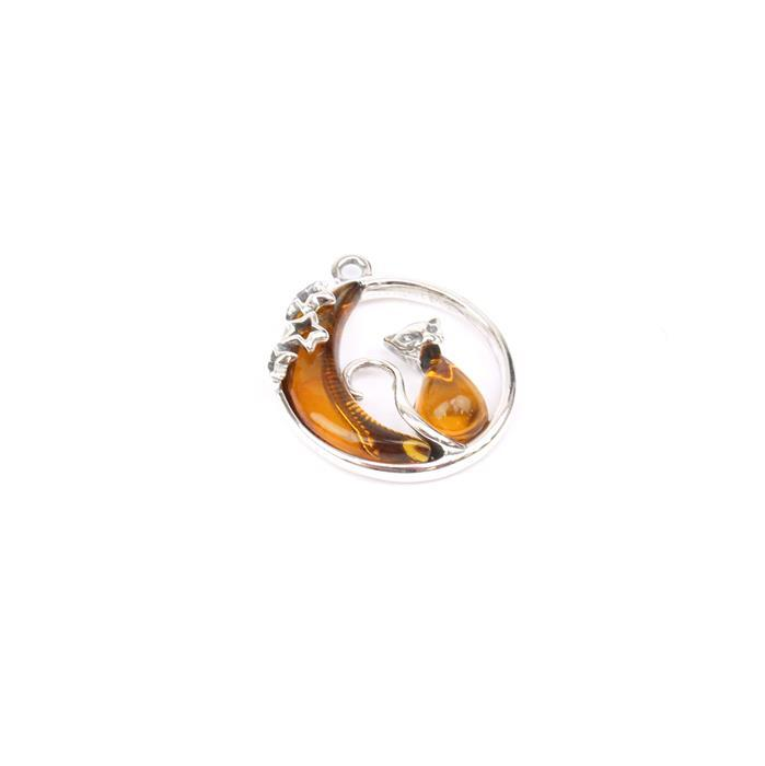 Baltic Cognac Amber Cat & Moon Sterling Silver Pendant Approx 22x19mm