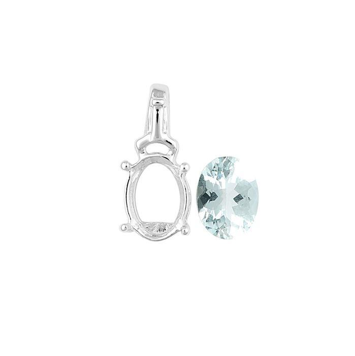 925 Sterling Silver Pendant Mount Fits 8x6mm Inc. 0.90cts Aquamarine Brilliant Oval 8x6mm.