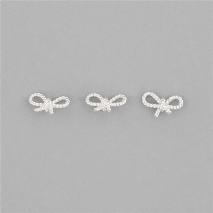 925 Sterling Silver Twisted Bow Charm Spacer Approx 11x4mm 3pcs