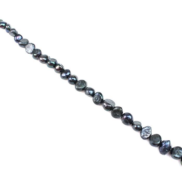 Dyed Black Freshwater Cultured Pearl Nuggets Approx 6-7mm, 38cm Strand