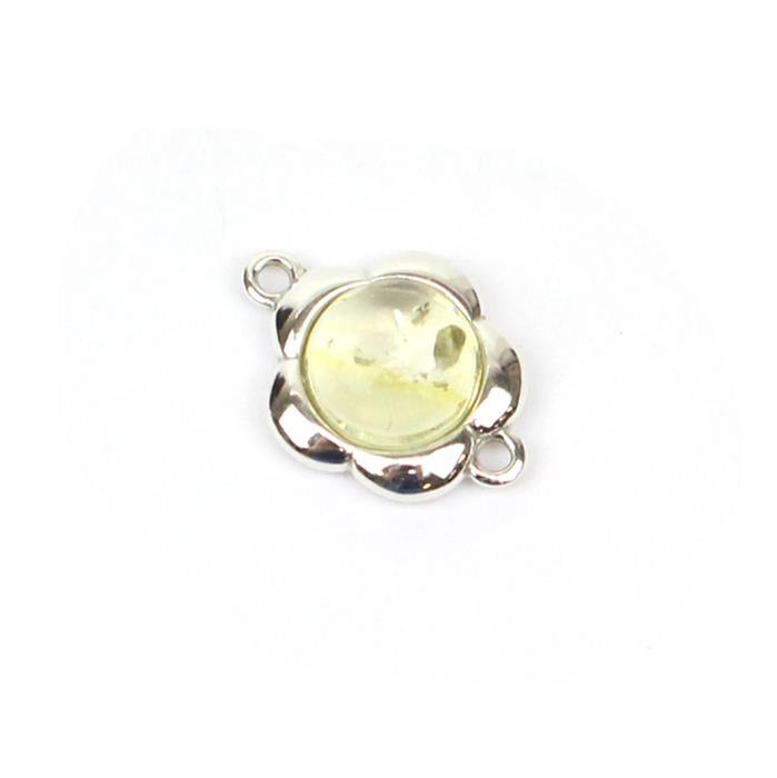 Baltic Lemon Amber Round Cabochon Flower Connector Approx 15mm Sterling Silver
