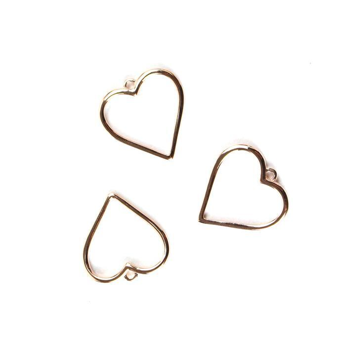 925 Sterling Silver Rose Gold Plated Alexandra Collection Heart Pendants Approx 19x20mm 3pk