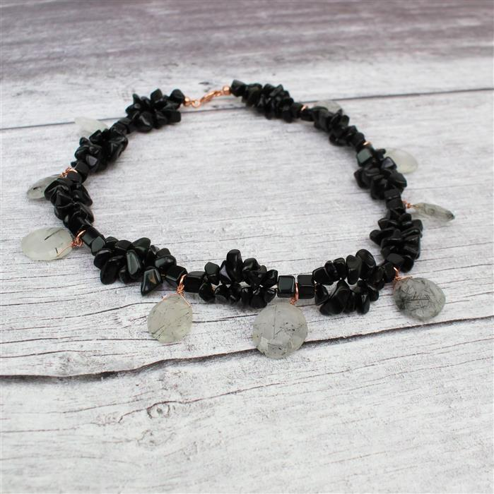 Classic Chic; 142cts Black Rutile, 280cts Black Obsidian, Threading & Findings Pack