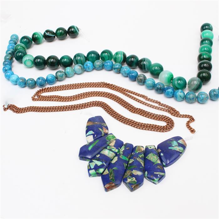 Blue Morpho INC Blue Jasper, Green Agate Rounds, Blue Agate Rounds & Bronze Chain