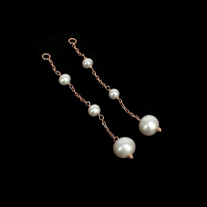 Rose Gold Plated 925 Sterling Silver Freshwater Cultured Pearl Drops Approx 60mm drop, 1Pair