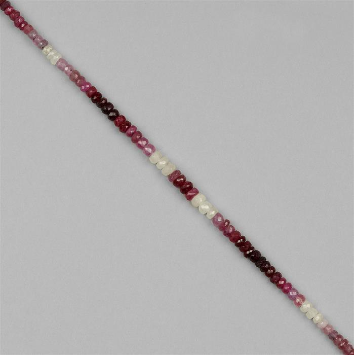 42cts Ombre Ruby Graduated Faceted Rondelles Approx 2x1 to 5x3mm, 18cm Strand.