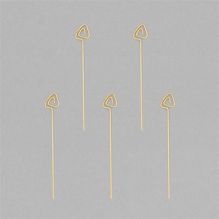 Gold Plated 925 Sterling Silver Arrow Headpins Approx 48x6mm (5pcs)