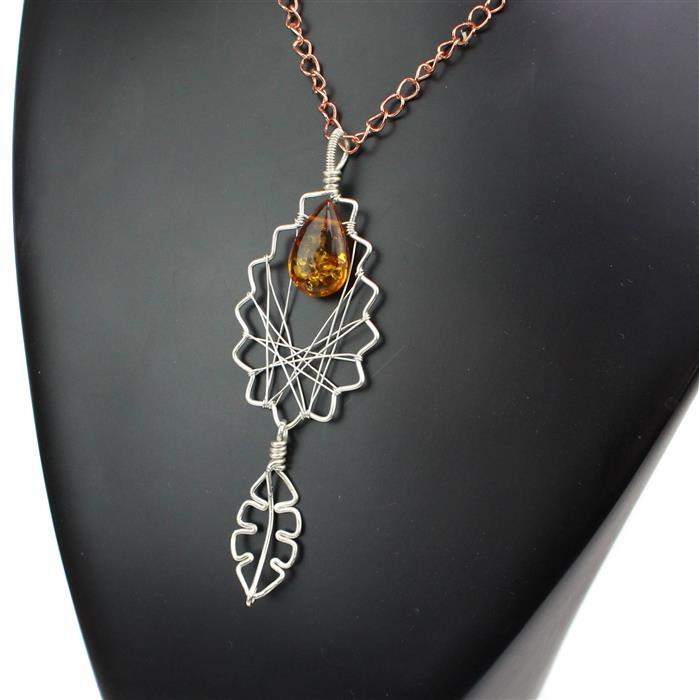 A Drop Of Gold;  Baltic Cognac Amber top drilled drops approx 18x11mm 3pcs & Sterling Wire