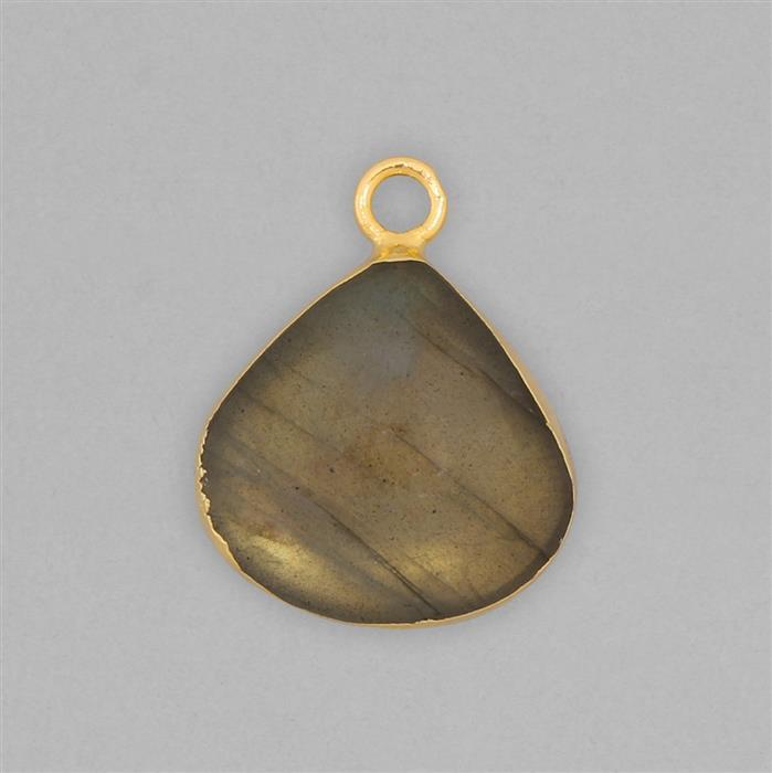 10cts Gold Electroplated Labradorite Smooth Drop Pendant Approx 18mm With 4mm Loop.(1pcs)