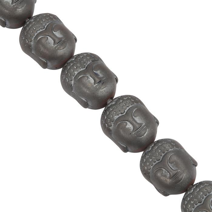 260cts Black Coated Hematite Buddha Shapes Approx 10x8mm, 28cm Strand.