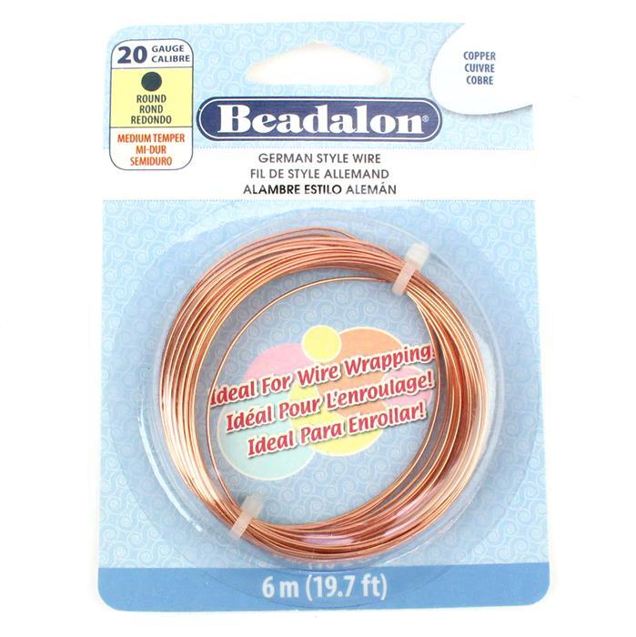 Beadalon Copper German Style Wire Round Wire, 20 Gauge/0.81mm, 19.7ft/6m