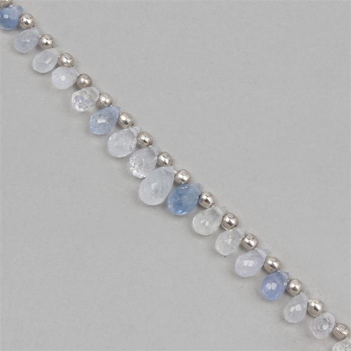 10cts Blue Sapphire Graduated Faceted Drops Approx 2x1 to 5x3mm, 8cm Strand.