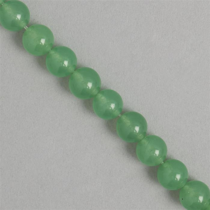 260cts Green Colour Dyed Quartz Plain Rounds Approx 9mm, 35cm Strand.