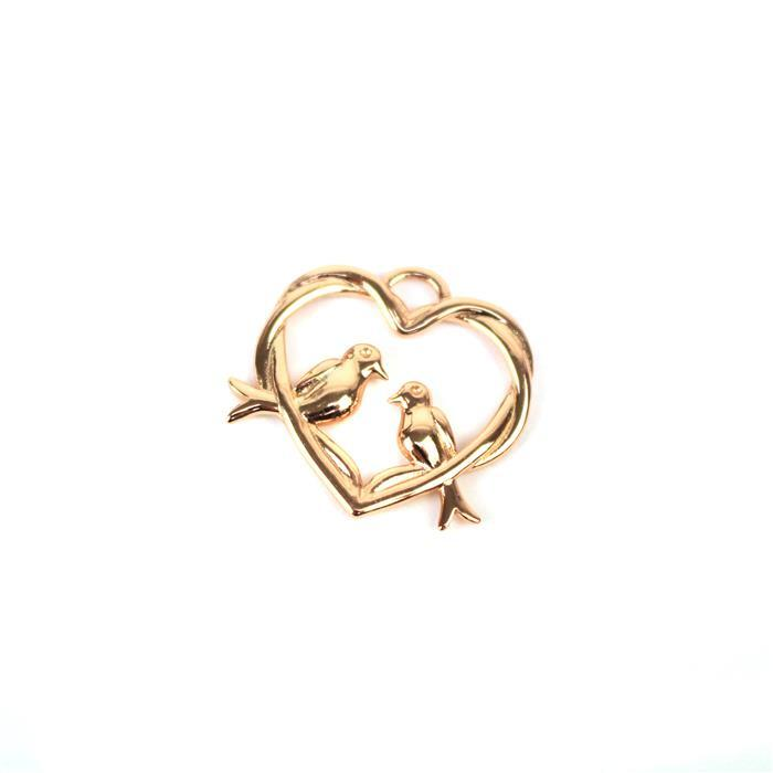 Rose Gold Plated 925 Sterling Silver Entwined Love Birds Heart Pendant Approx 23x24mm
