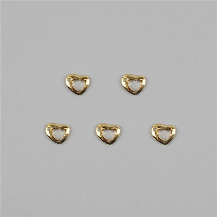 925 Sterling Silver Gold Plated Heart Charms Approx 11mm 5pcs