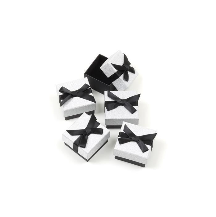 Silver Glitter Ring Box with Black Grosgrain Bow Approx 45 x 50 x 30mm, 5pk